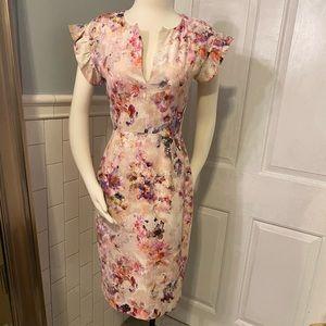 Black Halo pastel floral sheath dress